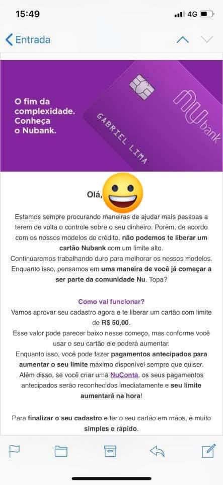 nubank oferece cartão de credito com limite de R$ 50 reais